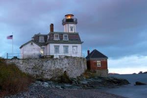 Rose Island Lighthouse at Sunset